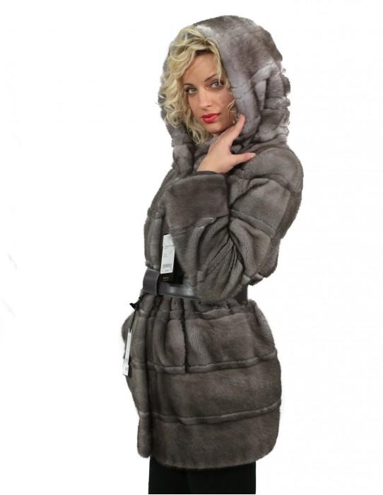 Braschi Fur Coat 44 Women's horizontal blue iris mink study b hood