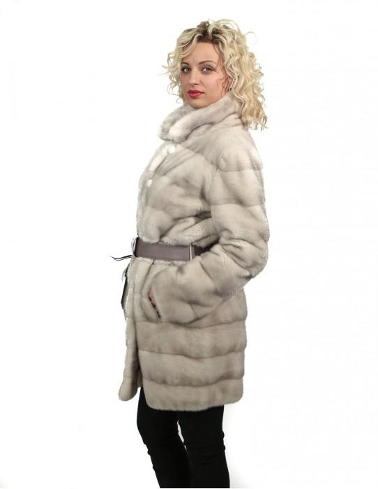 46 норковая шуба Braschi шёпот белая женщина горизонтальный с широким воротником и кожаный ремень
