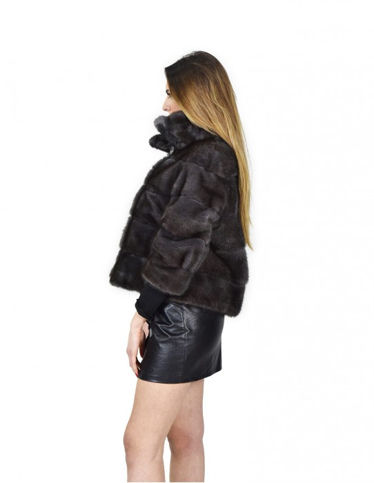 44 Jacket horizontal mink fur dark gray color with button collar fourrure de vison mink fur Nerz