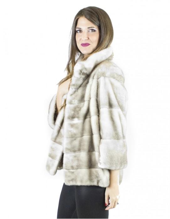 44 куртка Корейского льда норка воротник мех норки Vison норка Nerzpelzes fourrure