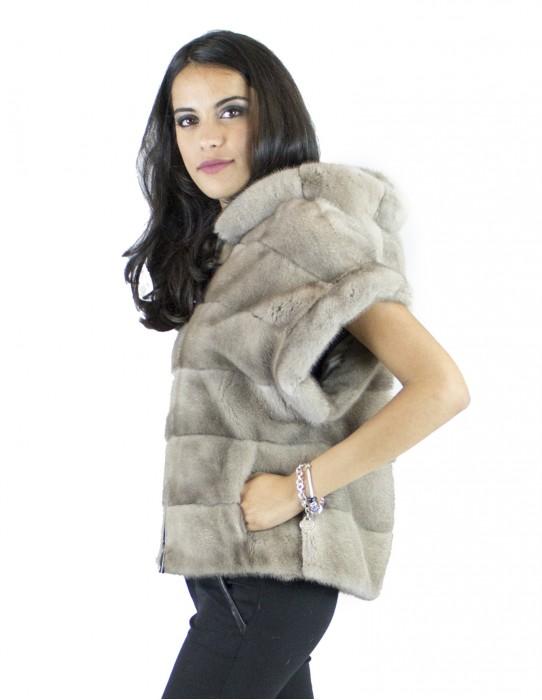 Gilet Silverblue Pelliccia visone cappuccio 44 vison норка fur mink Nerzpelzes fourrure