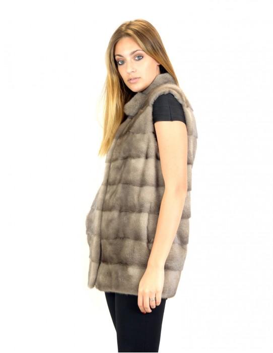 42 mink vest horizontal silverblue high collar mink fur Nerz fourrure de vison