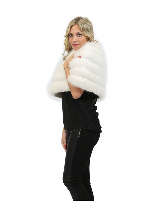 40-46 cape fur white fox with inserts of shiny skin bride