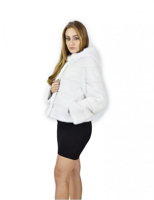 Giacca pelliccia visone orizzontale bianco cappuccio 44 fourrure de vison mink fur Nerz