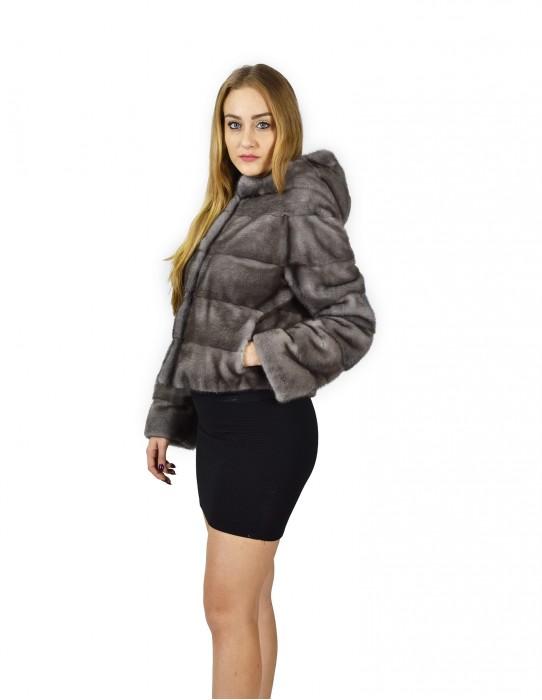 48 horizontal mink fur jacket blue irish hood fourrure de vison mink fur Nerz