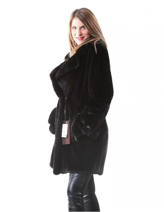 MINK FUR COAT WOMAN IN BLACK LEATHER WHOLE NAFA