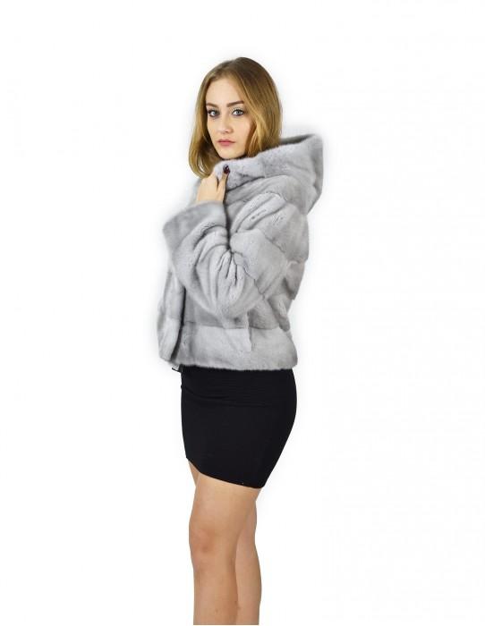 44 Куртка норка горизонтальных сапфировая крышка 58 см fourrure де Vison норка Nerz