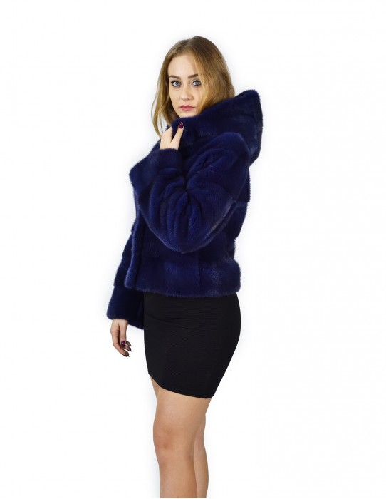 46 Mink fur jacket horizontal blue hood 58 cm fourrure de vison pelliccia visone Nerz