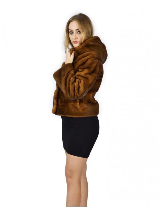 44 Куртка норка горизонтальный золотой колпак 58 см fourrure де Vison норка Nerz
