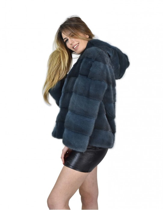 Mink coats with petrol-colored hooded mink fur 48 Nerz pelz мех норки