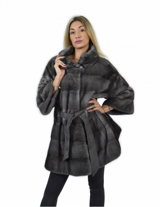 52 mink cape coat horizontal whole skin iris blue with leather piping walls