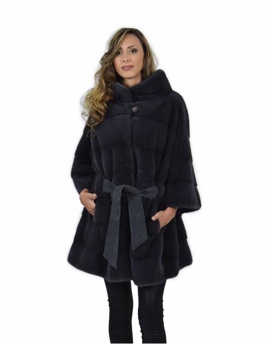 Cappotto mantella 54 visone pelle intera orizzontale colore blu antracite con cinta in pelle pistagna