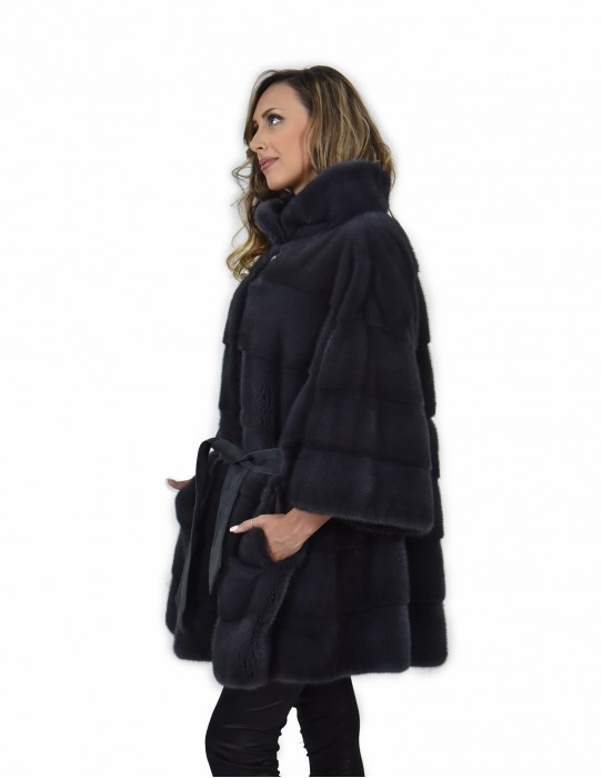 52 mink cape coat horizontal whole skin anthracite blue with leather piping walls