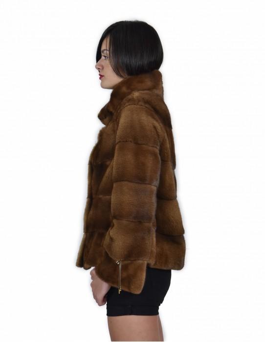 46 Giacca colore gold pelliccia visone pelle intera orizzontale 61 centimetri collo pistagna