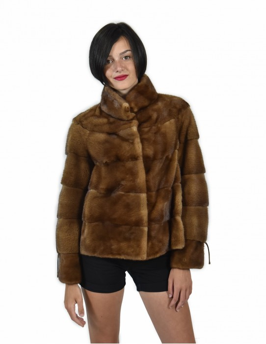 50 color mink fur jacket gold horizontal entire skin 61 centimeters piping neck