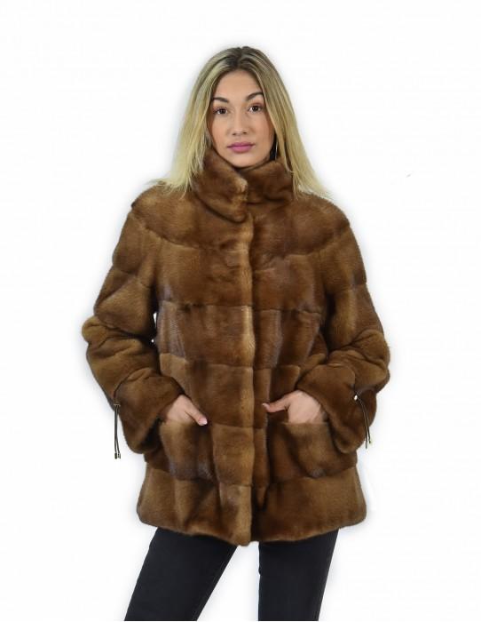 44 Giacca 71 centimetri colore gold pelliccia visone pelle intera orizzontale collo pistagna