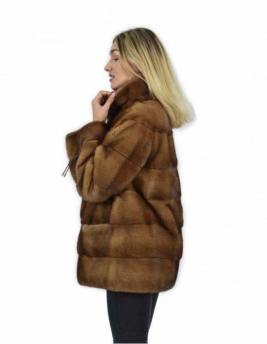 44 куртка 71 см золотого цвета шерсть горизонтального трубопровод вся кожа норка воротник