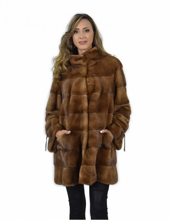 54 Jacket 81 cm gold color fur horizontal piping whole skin mink collar