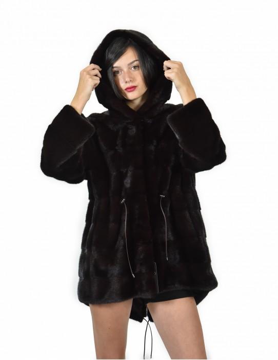 50 куртка 80 см шоколадного цвета норка горизонтального весь колпачок кожи