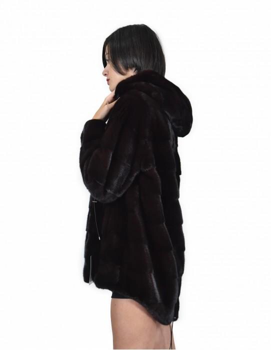 52 Jacke 80 cm Schokoladenfarbe Nerzpelzes horizontal gesamte Hautkappe