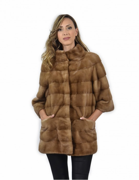 42 mink coat entire skin color horizontal redglow neck piping along 74 cm