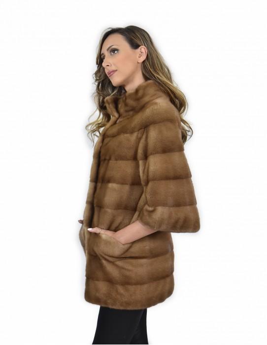 Cappotto 44 visone pelle intera orizzontale colore redglow collo pistagna lungo 74 centimetri