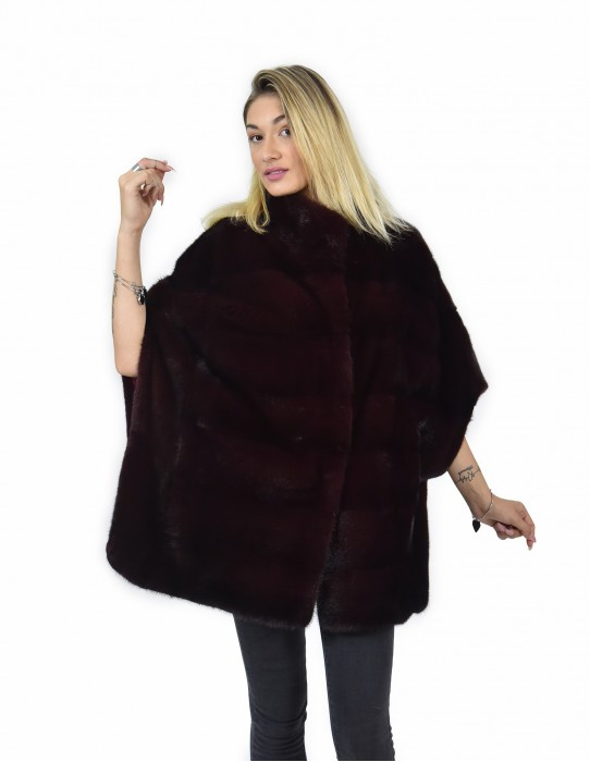 48-54 mink cape horizontal burgundy full leather lining and silk piping
