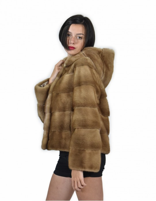 46 color mink fur jacket redglow horizontal entire skin 61 centimeters cap