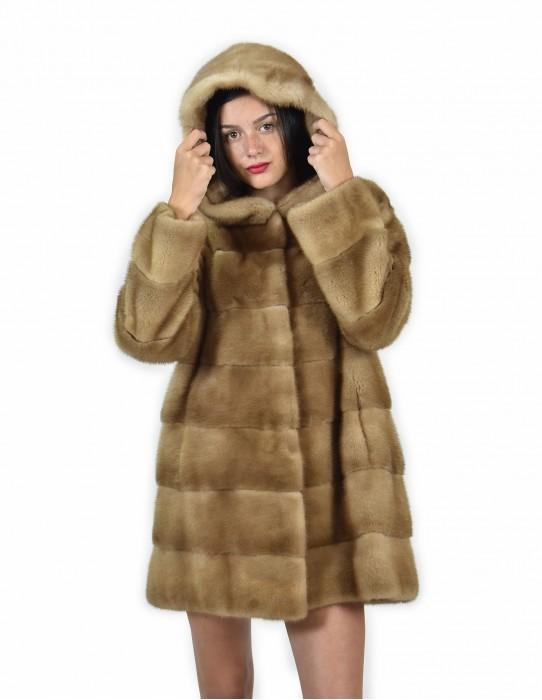 44 Giacca 81 centimetri colore redglow pelliccia visone pelle intera orizzontale cappuccio