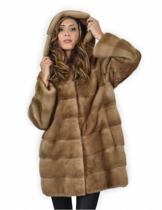50 Giacca 81 centimetri colore redglow pelliccia visone pelle intera orizzontale cappuccio