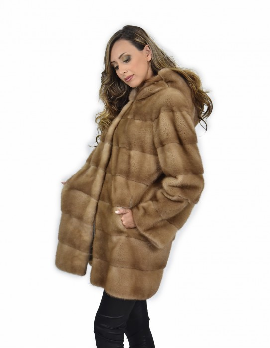 50 Jacket 81 cm color redglow mink fur horizontal entire skin cap