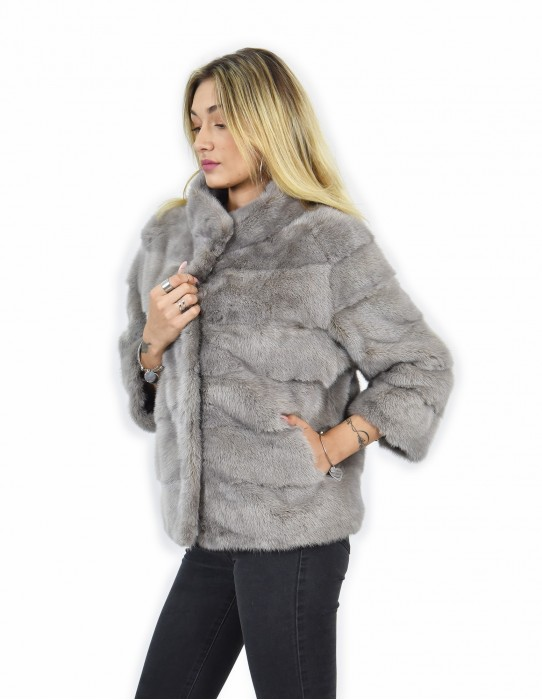 46 Jacket piping short mink fur gray horizontal entire leather drawstring