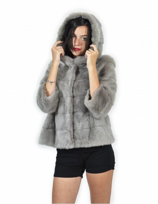 44 Jacket hood fur gray short mink horizontal entire skin drawstring