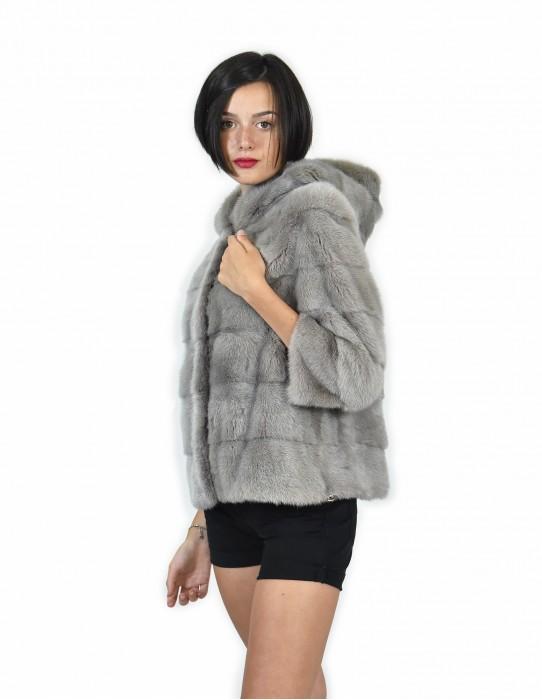 44 Giacca cappuccio in pelliccia di visone corta grigio a pelle intera orizzontale coulisse