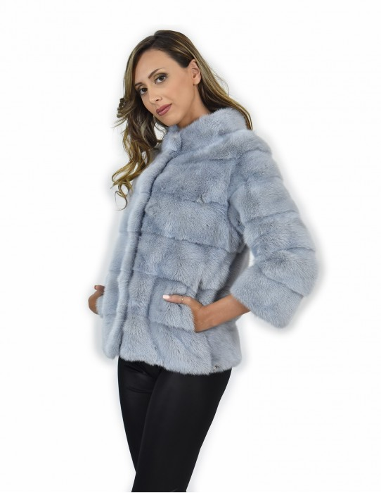 42 Jacket piping fur sapphire mink short horizontal entire leather drawstring