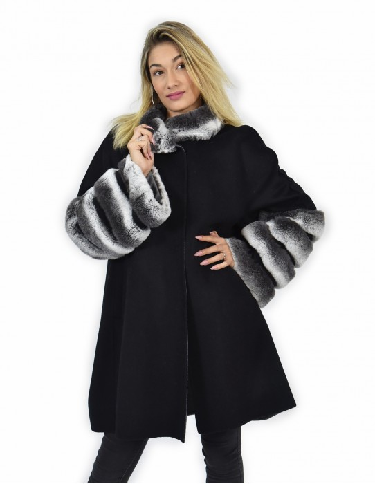 54 Coat cape cashmere and fur rex chincilla to black color and gray edges
