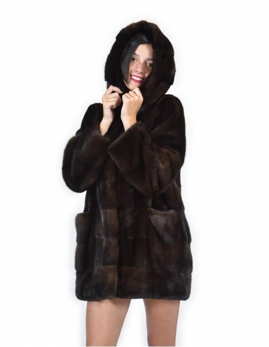 44 Pelliccia di visone orizzontale fondo e maniche e pelle intera cappotto mogano cappuccio
