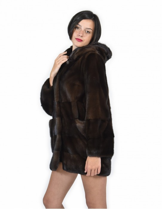 52 horizontal Mink coats the bottom and sleeves and full leather coat hood mahogany