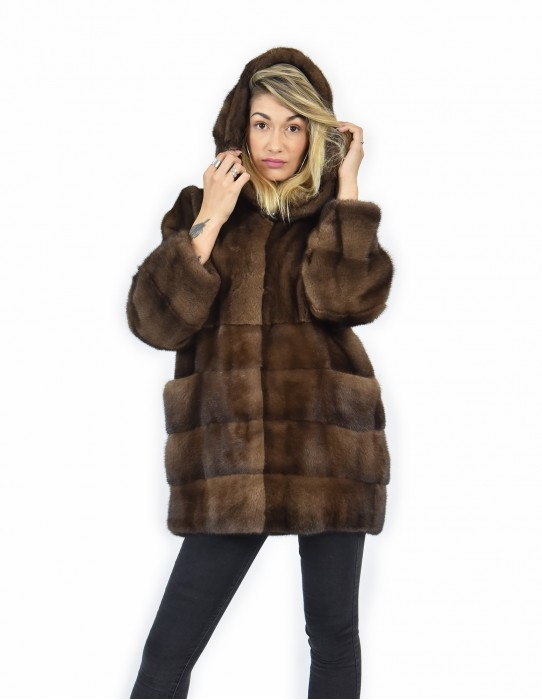 50 Mink coats horizontal demi bottom and sleeves and full leather coat hood