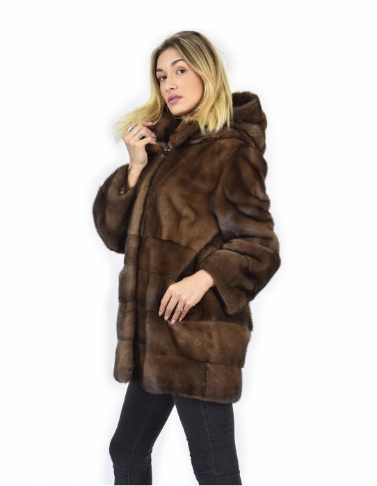 50 Pelliccia di visone demi orizzontale fondo e maniche e pelle intera cappotto cappuccio
