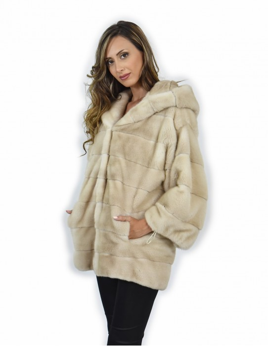 Mink coats size 44 color palomino entire horizontal leather 3/4 sleeve hooded drawstring cuffs