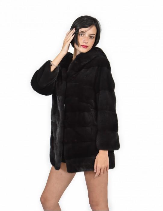 Mink coats size 42 graphite horizontal entire skin Long Sleeve Hooded