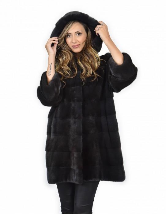 Mink coats size 46 skin color horizontal entire graphite 3/4 sleeve cap