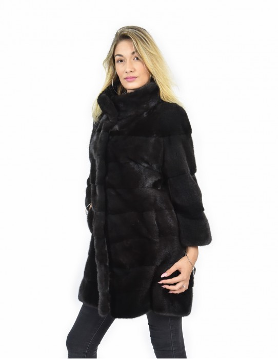 Mink coats piping size 46 skin color horizontal entire graphite sleeve 3/4