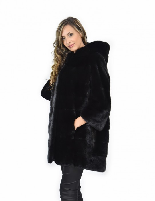 Mink coats size 54 black horizontal entire skin long sleeve hooded
