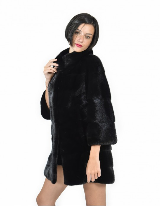 Neck Mink coats crater size 48 black horizontal entire skin 3/4 sleeve