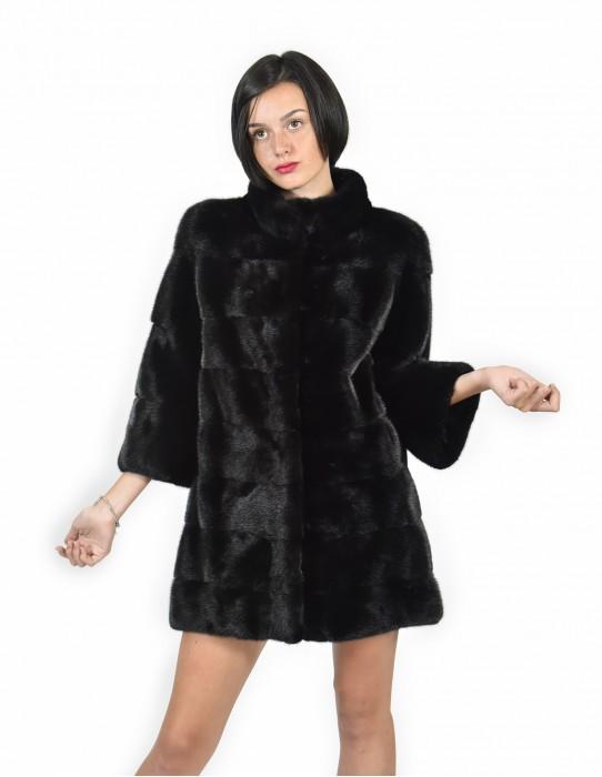 Neck Mink coats crater size 54 black horizontal entire skin 3/4 sleeve