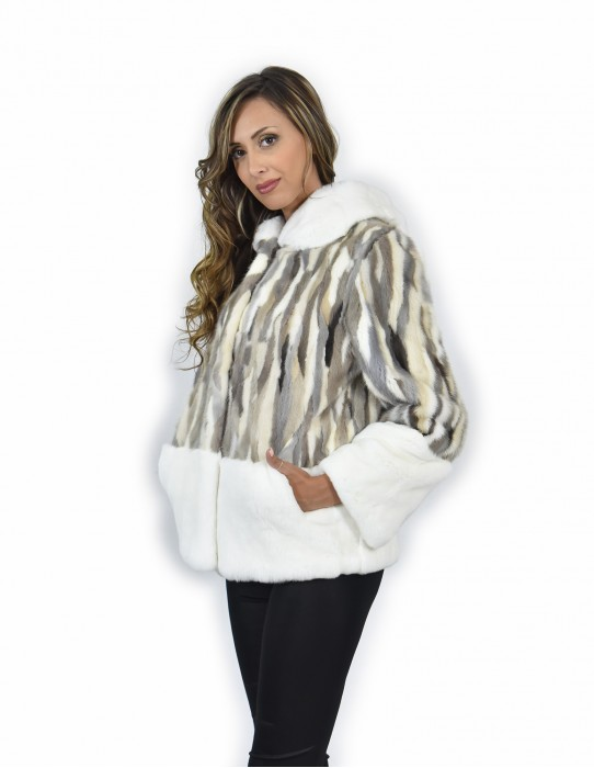42 Jacket fur of mink petals and rex gray and white color trimmed hood