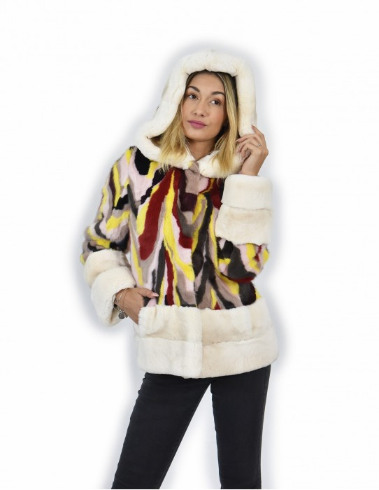 42 Jacket fur mink rex and multicolored petals and white-lined hood