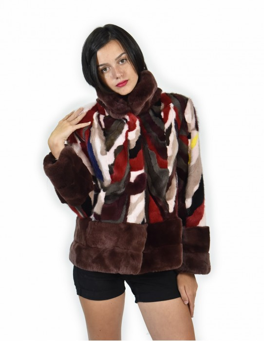 42 Jacket fur mink and rex multicolored petals and red piping neck